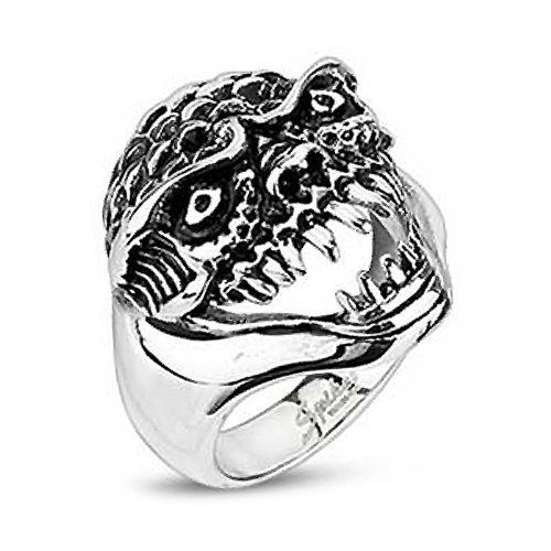 23MM Polished Stainless Steel Biker Ring with Underwater Oni Demon Design…