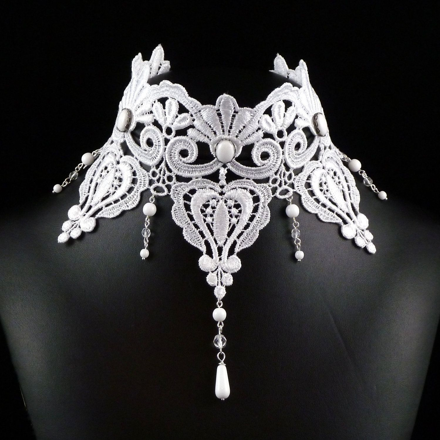 White Victorian Choker Necklace Lace Bridal Jewelry Large