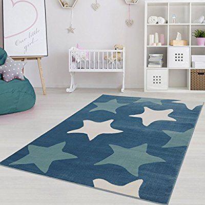 Moderner Kinderzimmer Teppich Fur Das Kinderzimmer Pastel Oko Tex 100 Zertifiziert Inp 5813 Blau Ster Teppich Kinderzimmer Kinderzimmer Teppich Madchen Teppich