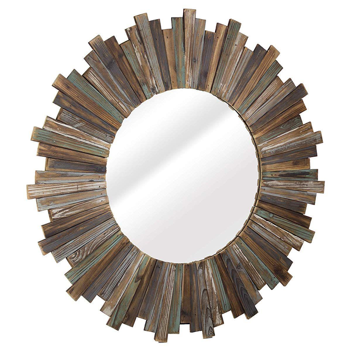 Distressed Wood 36 Round Sunburst Wall Vanity Accent Mirror