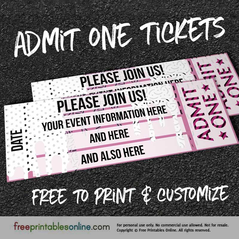 Drip Drop Admit One Ticket Template (Free Printables Online - free printable event ticket templates