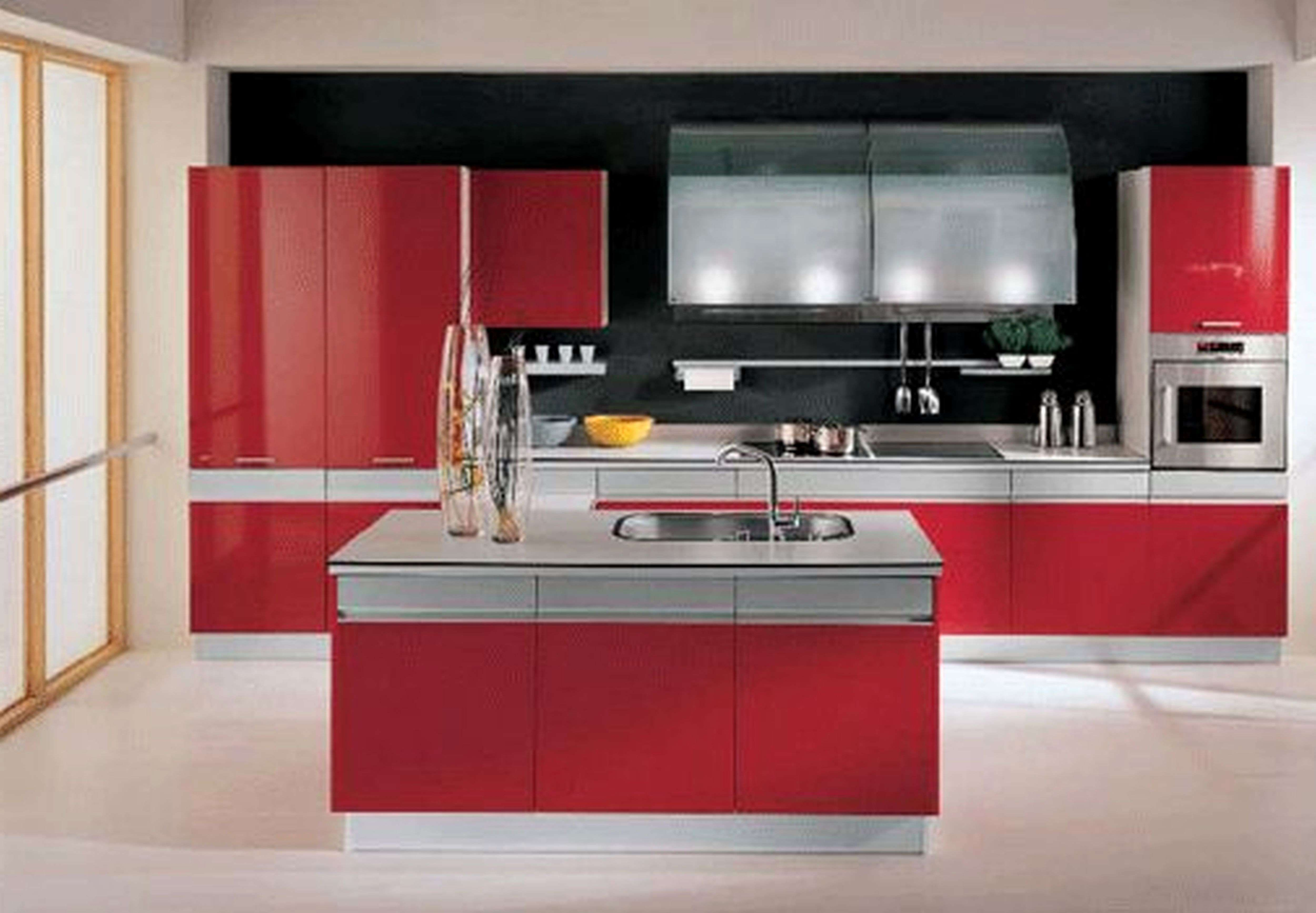 Red Gloss Kitchen Cabinets Unique Contemporary U Shape Kitchen Red