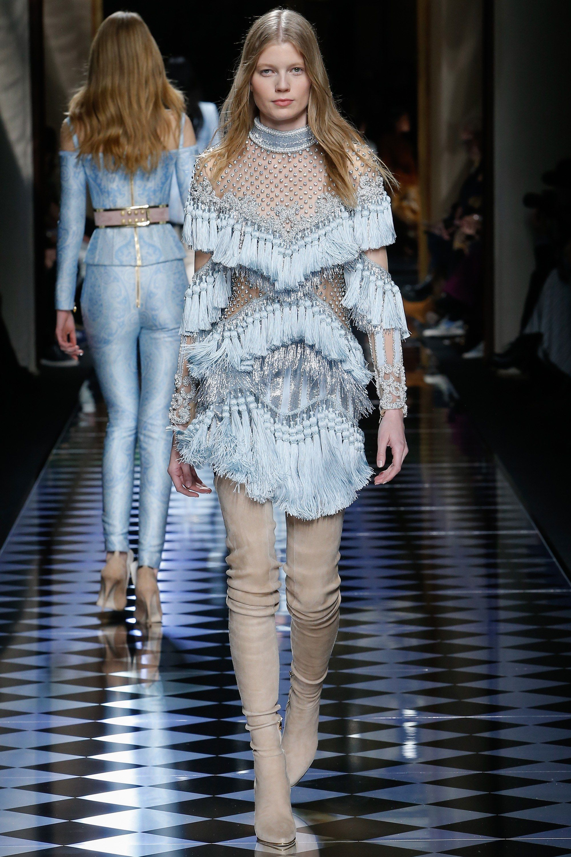 Balmain Fall Winter Ready To Wear Collection Via Designer Olivier Rousteing Modeled By Saara Sihvonen March 3 2016 Paris