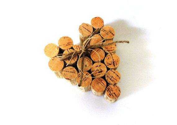 Cork Heart Cake Topper, Recycled Cork Heart, Rustic Wood