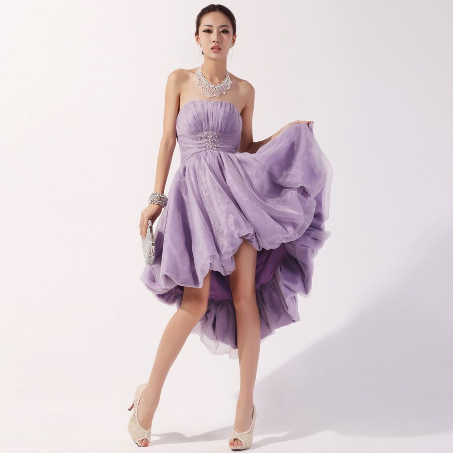 Short purple wedding dresses  Fancy strapless with empire waist highlow hem organza dress  Prom