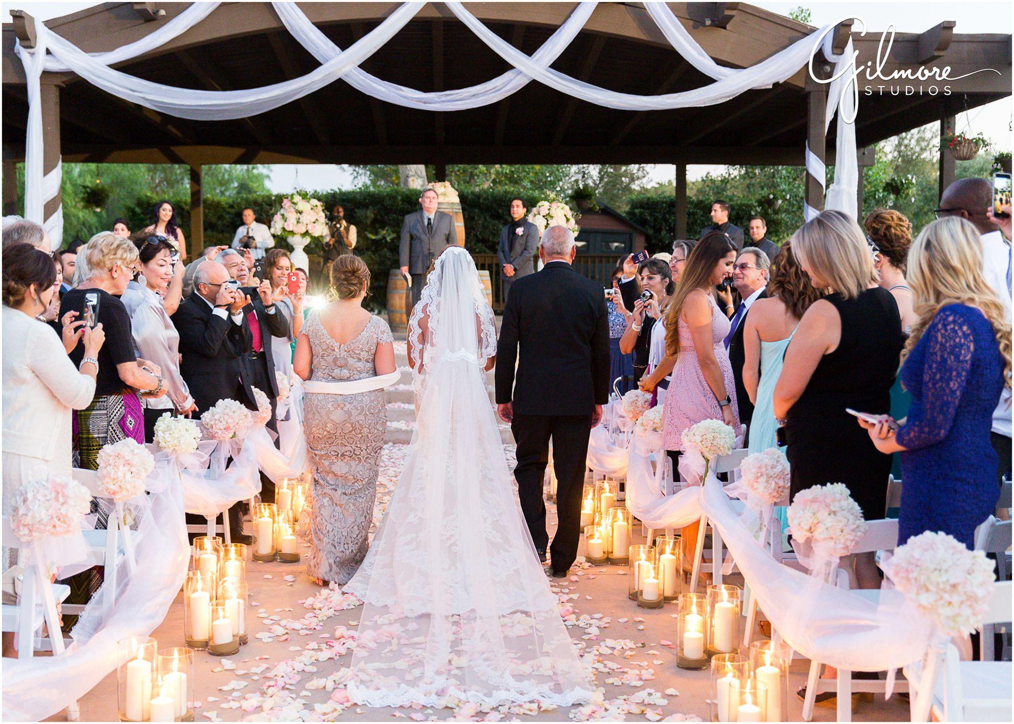 Wilson Creek Winery In Temecula Wedding Vineyard Garden Bride Amp Father Back Of Lace Wedding Dress D Floral Wedding Decorations Temecula Weddings Wedding