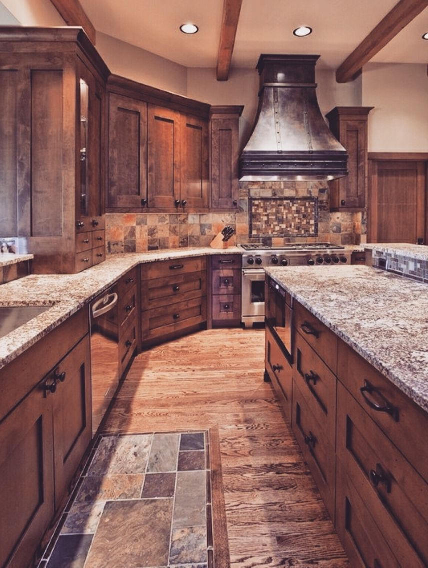 15 rustic kitchen cabinets designs ideas with photo for Rustic kitchen floor ideas
