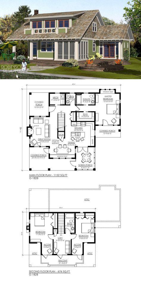 Craftsman G 1828 In 2020 Cottage Floor Plans House Plans
