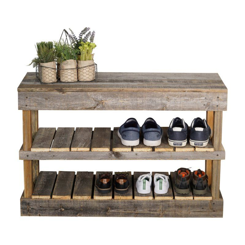 Barnwood 8 Pair Shoe Storage Bench Is The Perfect Addition To Your Entryway Sunroom Or Patio The Shel Wood Shoe Rack Pallet Shoe Rack Bench With Shoe Storage