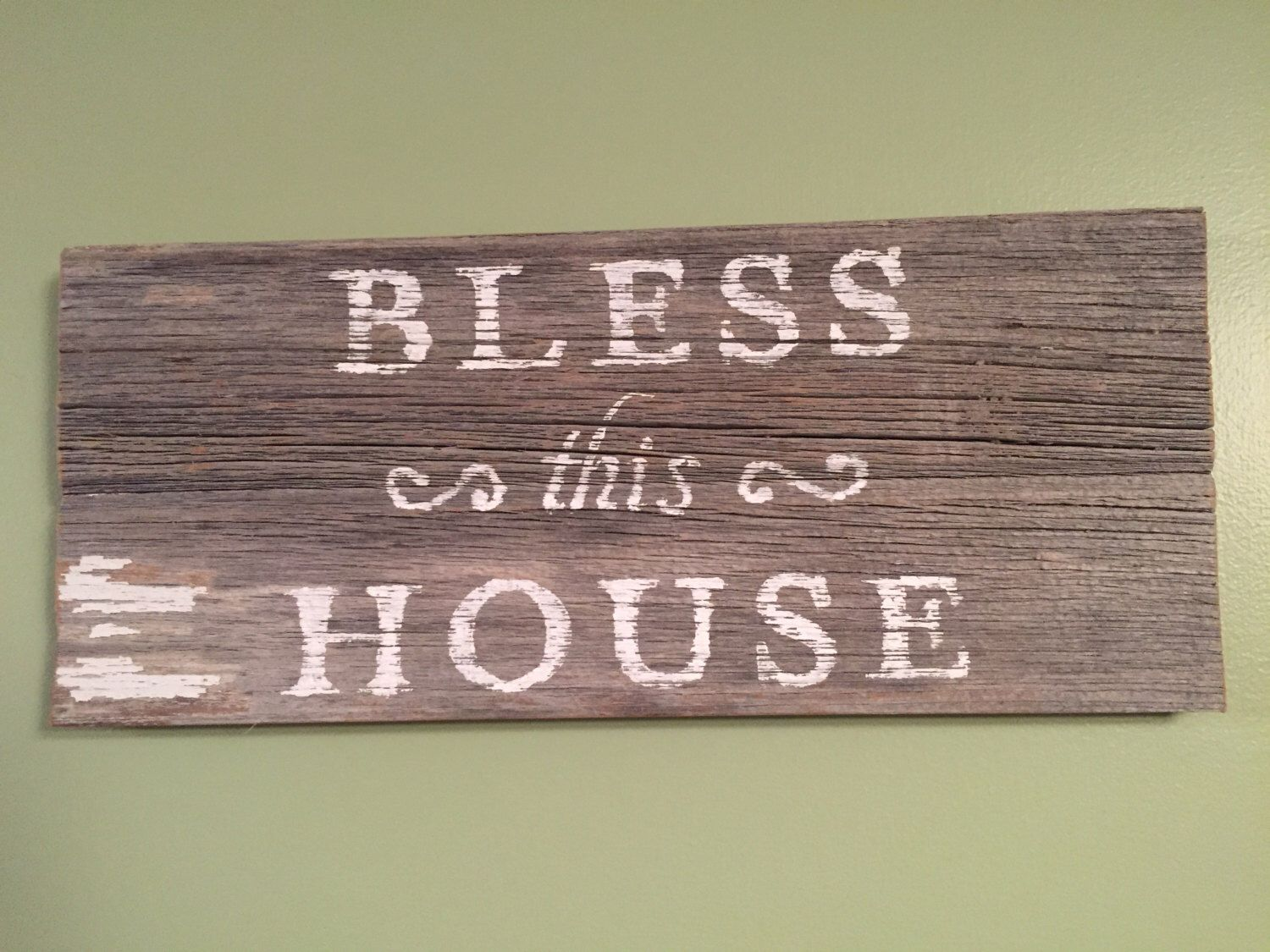 """Bless this House Barn Wood Sign Hand Painted Rustic Reclaimed Wood 14""""x6"""" Country Farm house Decor Wall Hanging by ReannasCountryDecor on Etsy https://www.etsy.com/listing/222922977/bless-this-house-barn-wood-sign-hand"""