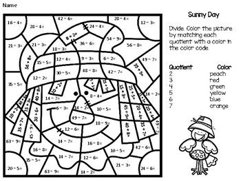 Division Color By Number Third Grade Math 4th Grade Math Math Lessons