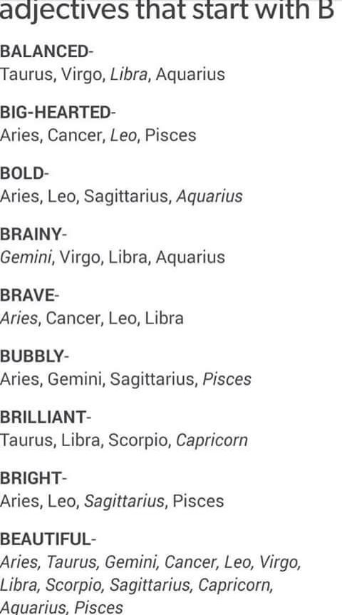 Pisces adjectives