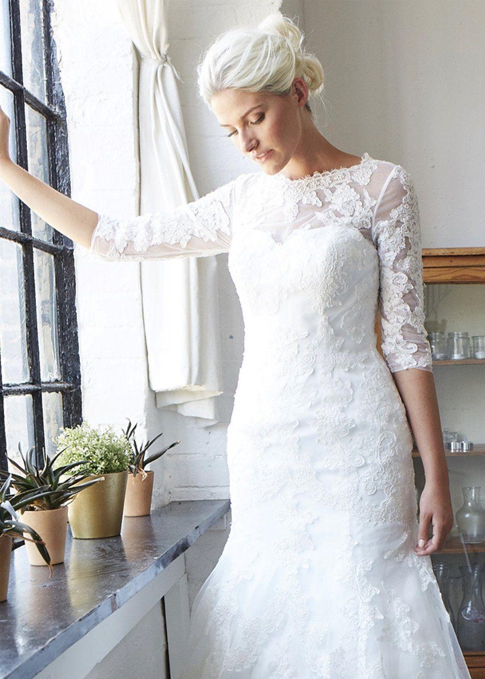 White mermaid wedding dress   Sleeve Lace Mermaid Wedding Dress  ANEBERRY Wedding Dresses
