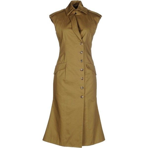 Alexander Mcqueen Knee-length Dress ($1,680) ❤ liked on Polyvore featuring dresses, military green, sleeveless dress, olive green dress, brown sleeveless dress, alexander mcqueen and olive dress