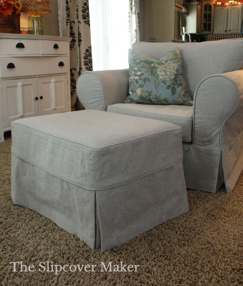 Gray Yarn Dyed Canvas Slipcover Custom Fit For A Classic Pottery Barn Chair And Ottoman Slipcovers For Chairs Furniture Slipcovers Furniture Covers Slipcovers