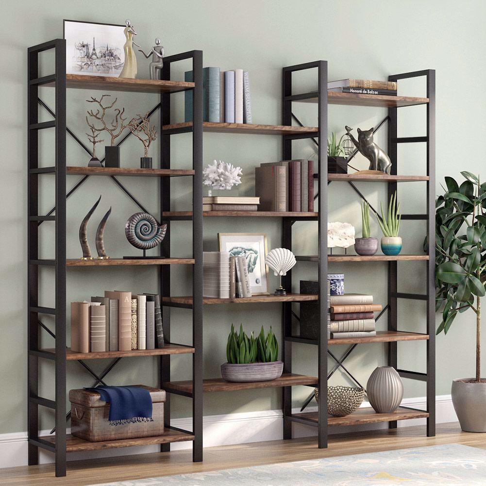 Triple Open Design It Measures 70 H X 70 86 W X 12 59 D This 14 Open Bookshelves Showcase Your Favor In 2020 Open Bookshelves Metal Bookcase Large Bookshelves