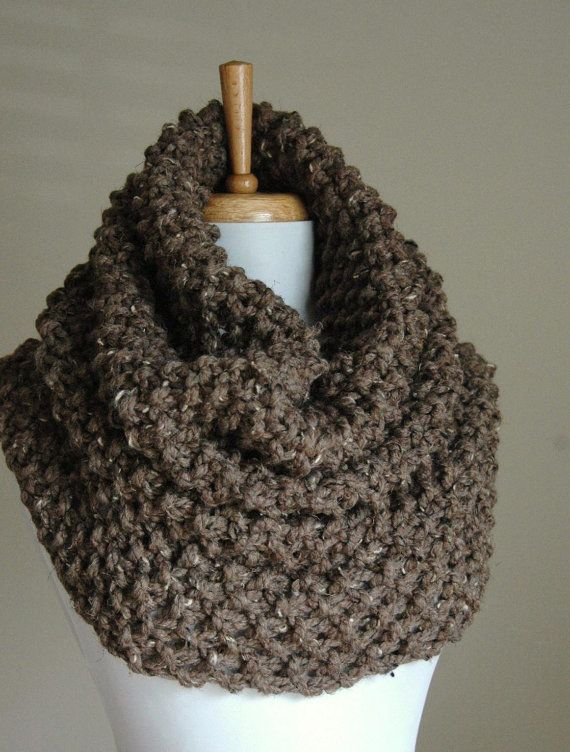 Chunky Hand Knit Infinity Scarf Cowl Hood In Neutral by PhylPhil ...