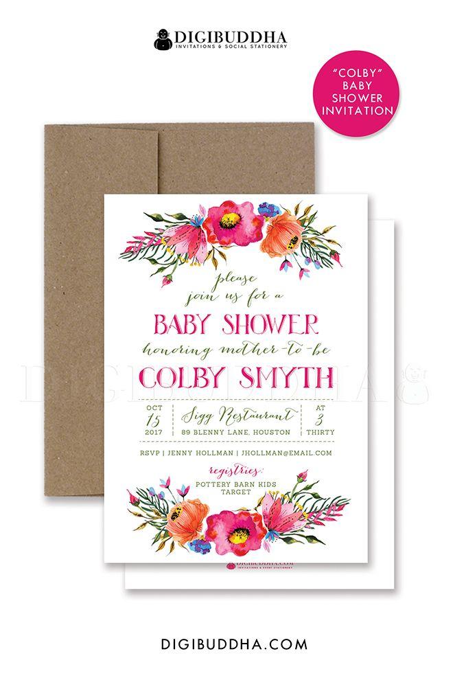 Printable BABY SHOWER INVITATION Boho Watercolor Rustic Girl Baby - baby shower invitation backgrounds free
