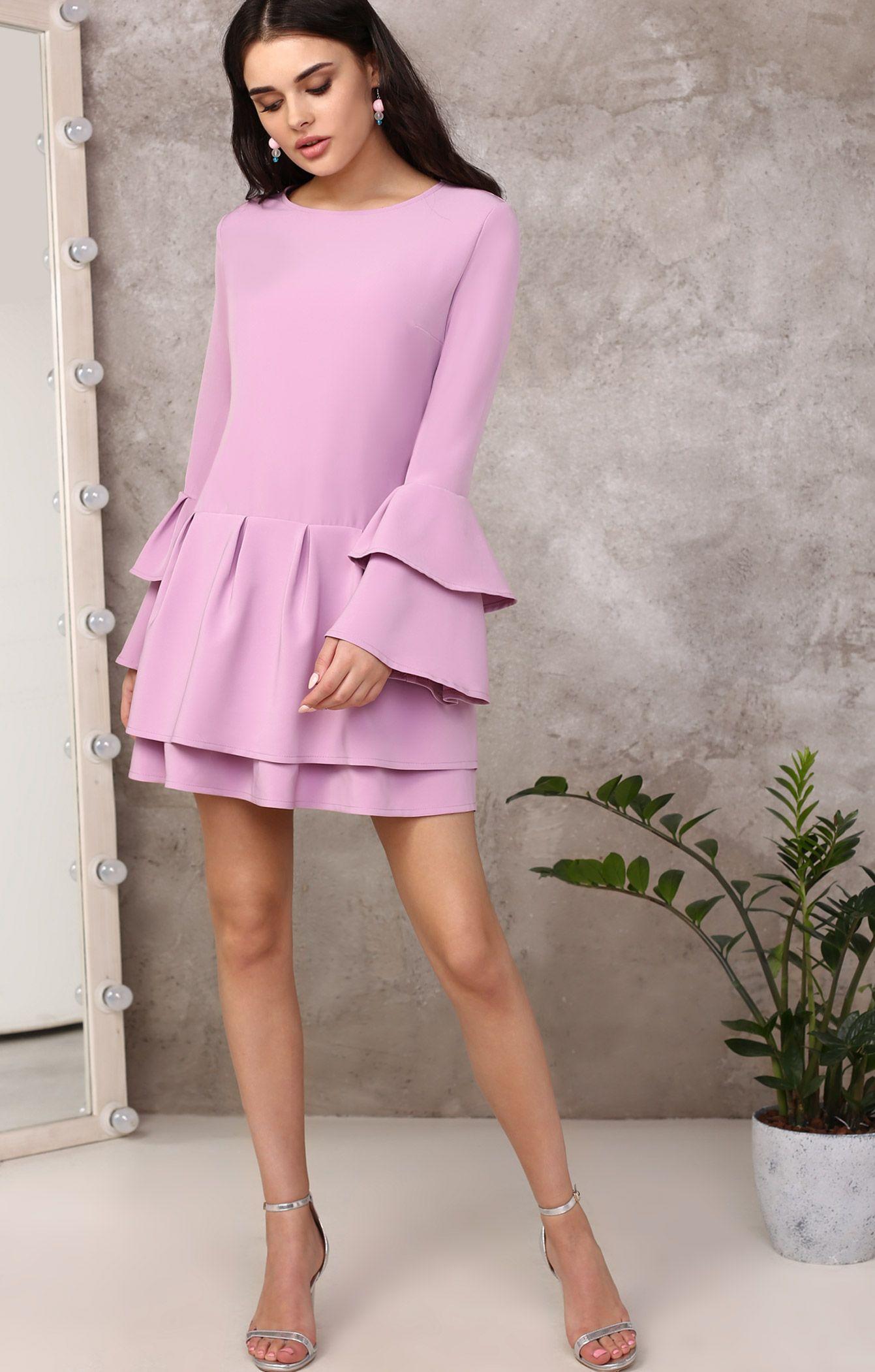 2de266bf3360 Лиловое платье из вискозы с рукавами-воланами и заниженной талией TOP20  Studio 250619, купить за 4865 руб в интернет-магазине TopTop.ru