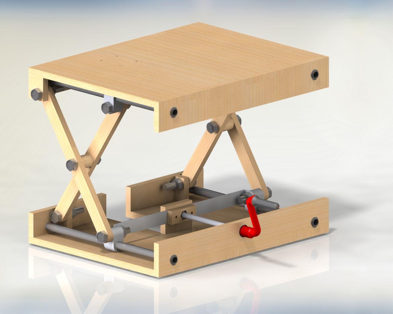 Scissor Lifting Table Solidworks 3d Cad Model