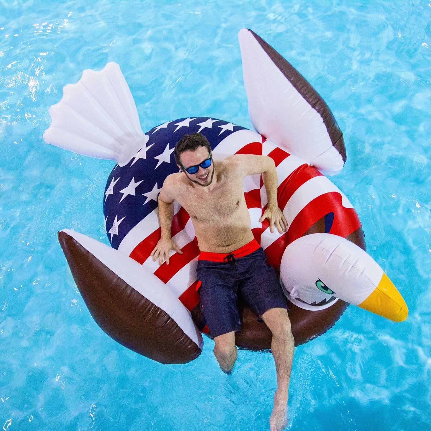 giant rideable patriotic american bald eagle inflatable swimming pool float toys. Black Bedroom Furniture Sets. Home Design Ideas