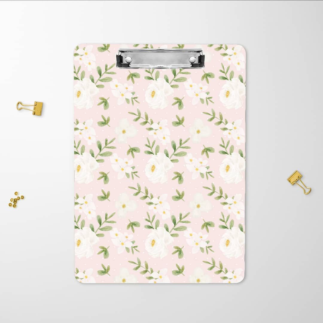 Office Deskorganization: Cute Pink Floral Clipboard. Available In My Shops! # Office