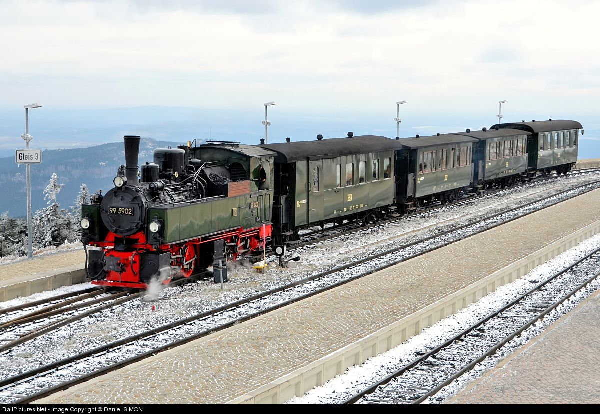 """The HSB """"Nostalgie Zug"""" hauled by the Mallet #99 5902 has reached its final destination, the Brocken summit, located at an altitude of 1125 meters."""