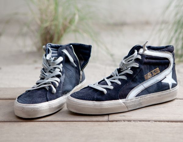 GOLDEN GOOSE MEN'S HI TOP SLIDE SNEAKER // Leather/Suede/Canvas | $557.00
