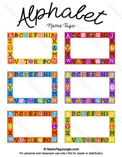 Free Printable Alphabet Name Tags The Template Can Also Be Used