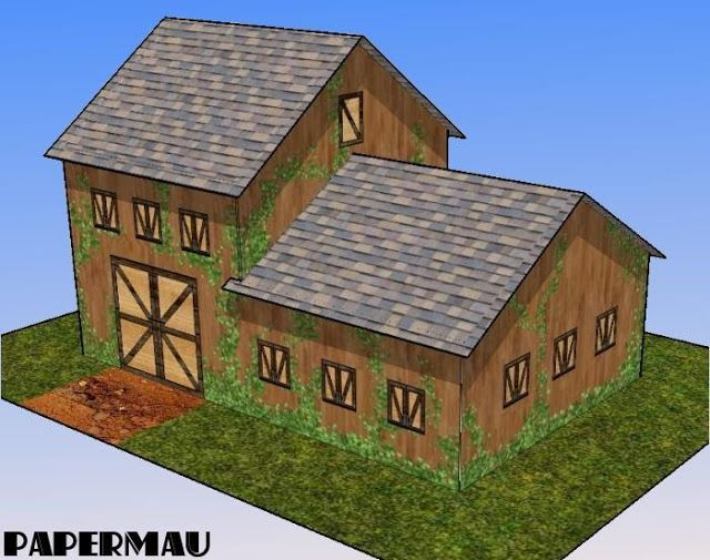 Papermau A Barn Paper Model For Dioramas Rpg And