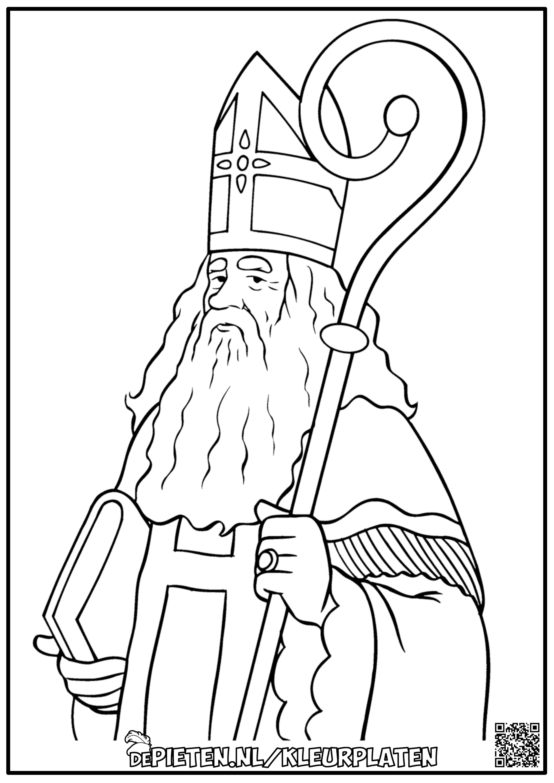 Sinterklaas Kleurplaat Met Staf En Mijter Goede Kwaliteit Afbeelding In Link Kleurplaten Sinterklaas Afbeeldingen