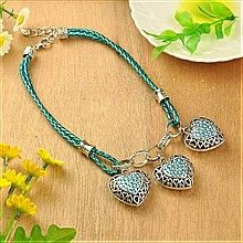 Tibetan Style Necklaces, with Heart Alloy Rhinestone Pendants and PU Leather Cord, for Valentine's Day, Blue Zircon, 460mm