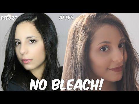 Diy Lighten Dark Hair Without Added Bleach At Home Youtube Lightening Dark Hair Dark Hair Dye Bleaching Dark Hair