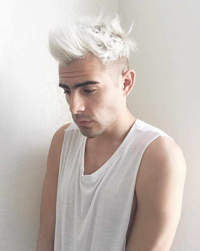 Bleached White With Quiff Edu In 2019 Mens Hair Colour