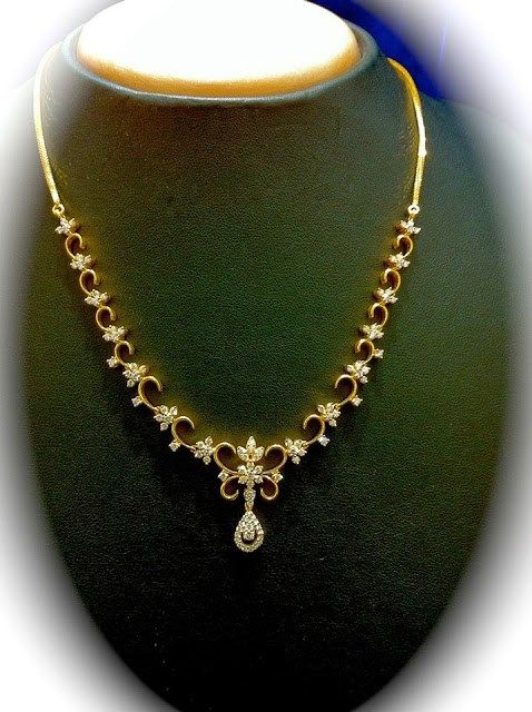 Simple diamond necklace jewellery designs indian for Simple gold ornaments
