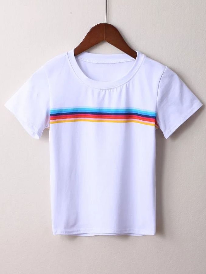 e7c879f81f1 Shop White Striped Short Sleeve T-shirt online. SheIn offers White Striped Short  Sleeve T-shirt   more to fit your fashionable needs.