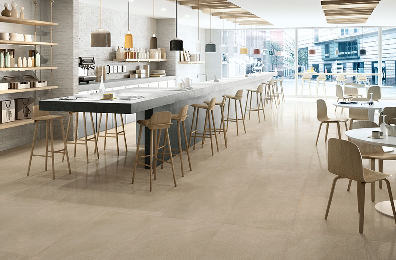 simple and neat cafe decor floor tile from limestone collection by cotto deste