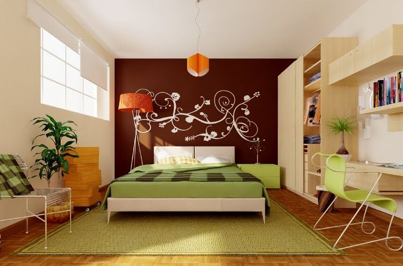 Bedroom Interior Design With Maximize Wall Features Green Brown Orange Color Theme For Modern Bedroom