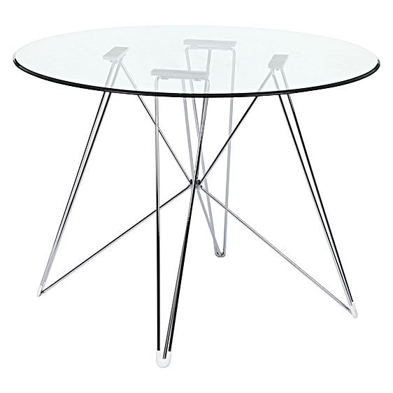 Replica Eames Eiffel Dsr Round Glass Dining Table Chrome Legs By Simpel Glass Round Dining Table Glass Dining Table Dining Table