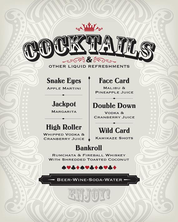 casino bar menu