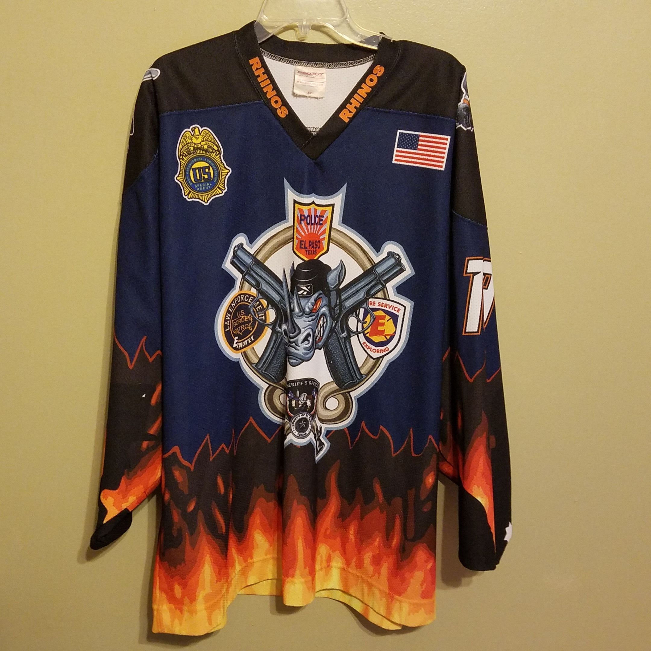 El Paso Rhinos Game Used Hockey Jersey Size 52 Adult Police Tribute