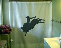 Bull Rider Shower Curtain Rodeo Cowboy Ride Buck Horn Bathroom Decor Kids  Bath Curtains Custom Size