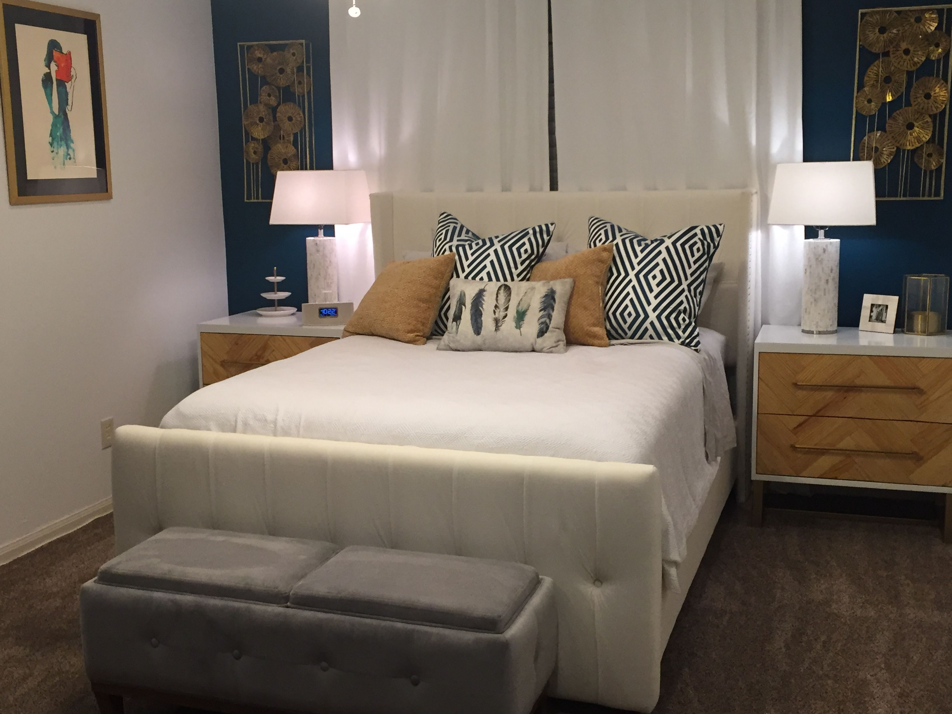 master bedroom neutrals with a pop of color tsunami paint color by