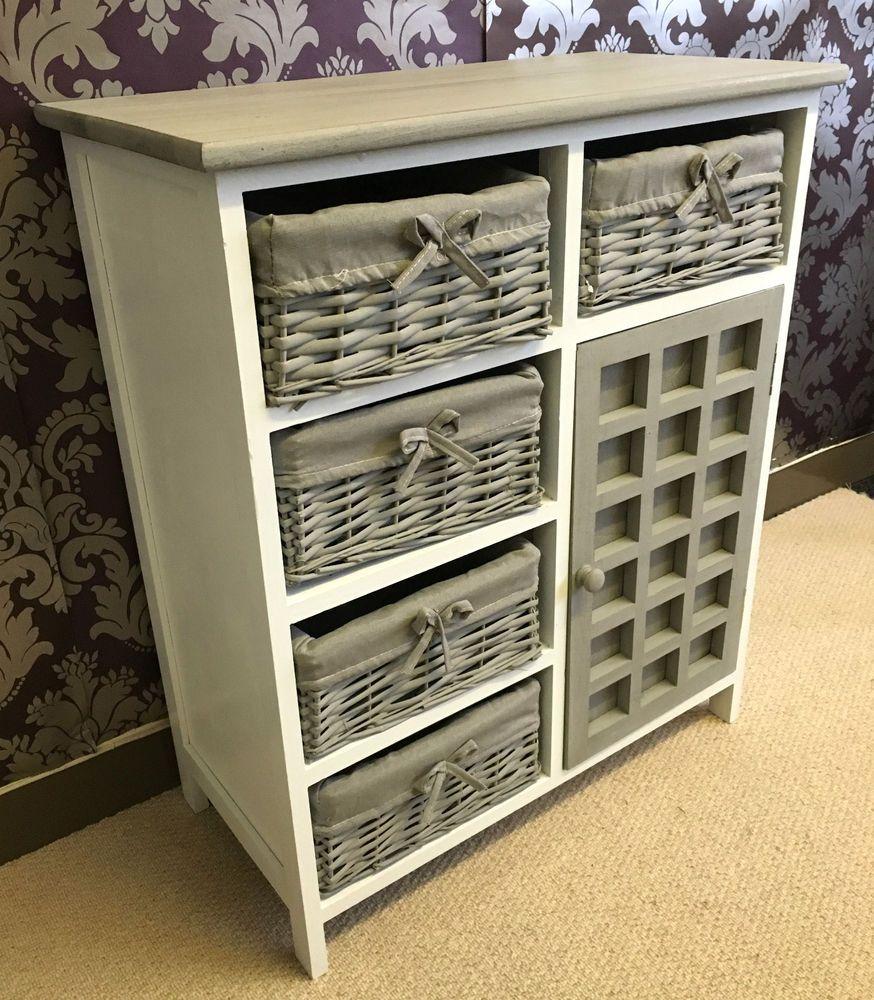 Superior Grey White Chest Drawers Storage Cabinet Wicker Baskets Cupboard Vintage  Bedroom