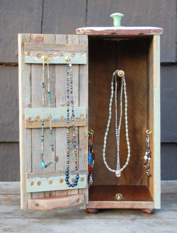 Rustic Wood Jewelry Box For Hanging Necklaces And Bracelets Looks Like Mini Closet To Decorate Or Not Pinterest