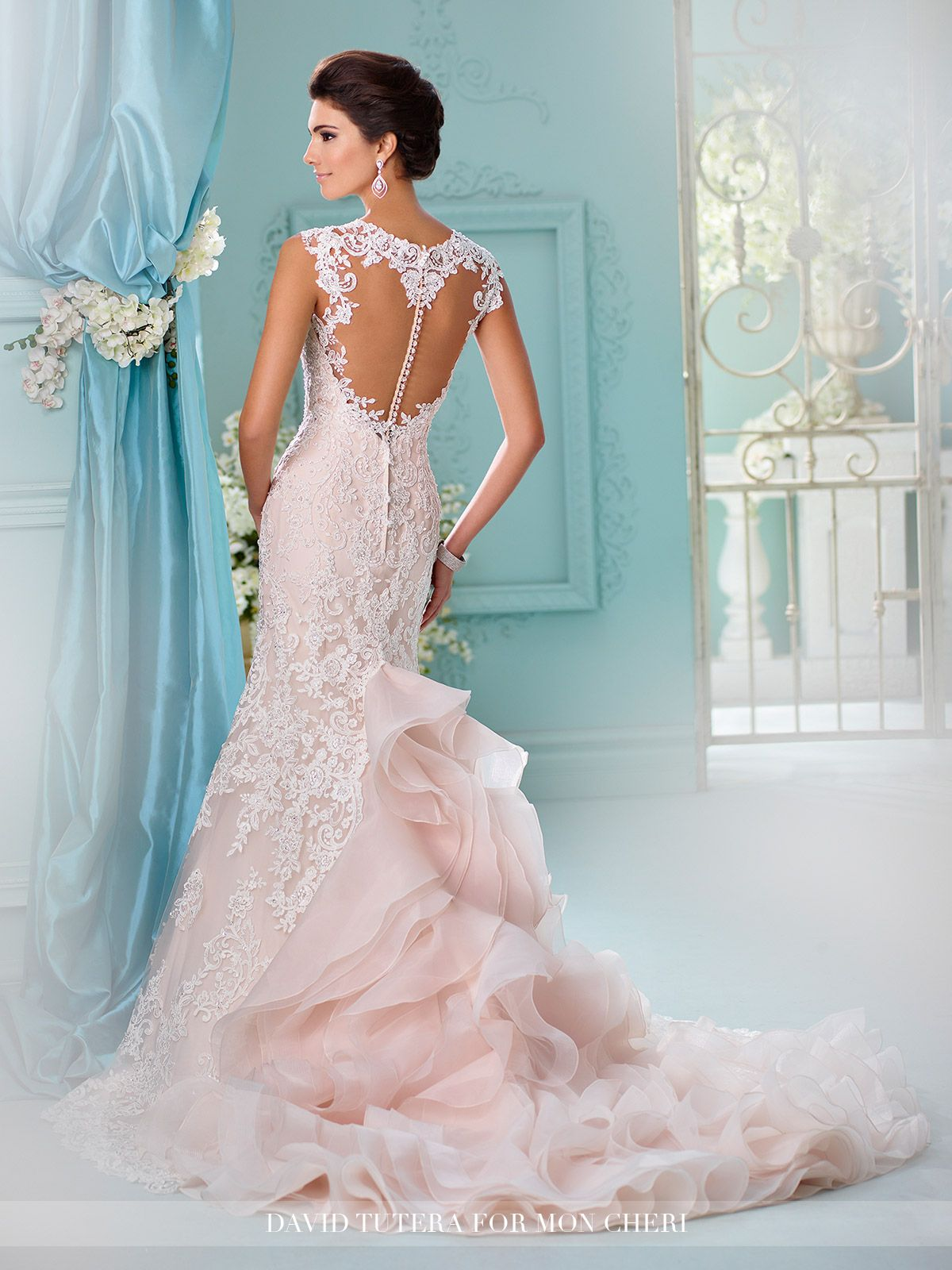 b61cf65f8d4 David Tutera for Mon Cheri - 216251 Mora - Tulle and organza over satin fit  and flare gown with hand-beaded re-embroidered Alencon lace appliqués