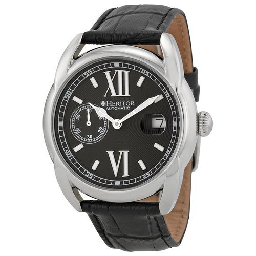 Heritor Burnell Black Embossed Dial Black Leather Men's Watch (W-HR1803)