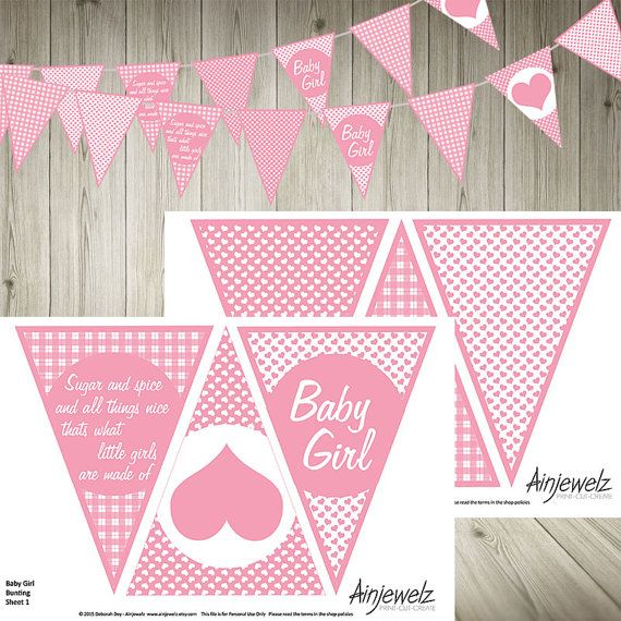 Girl Pink Flowers /& Check Personalised Baby Shower Bunting