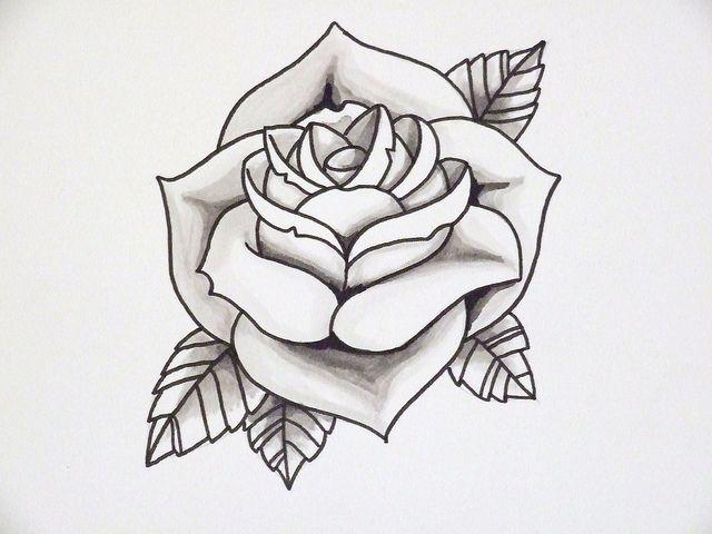 Rose Outline 2 By Joseph Potter Via Flickr Traditional Rose Tattoos Traditional Tattoo Outline Tattoo Outline