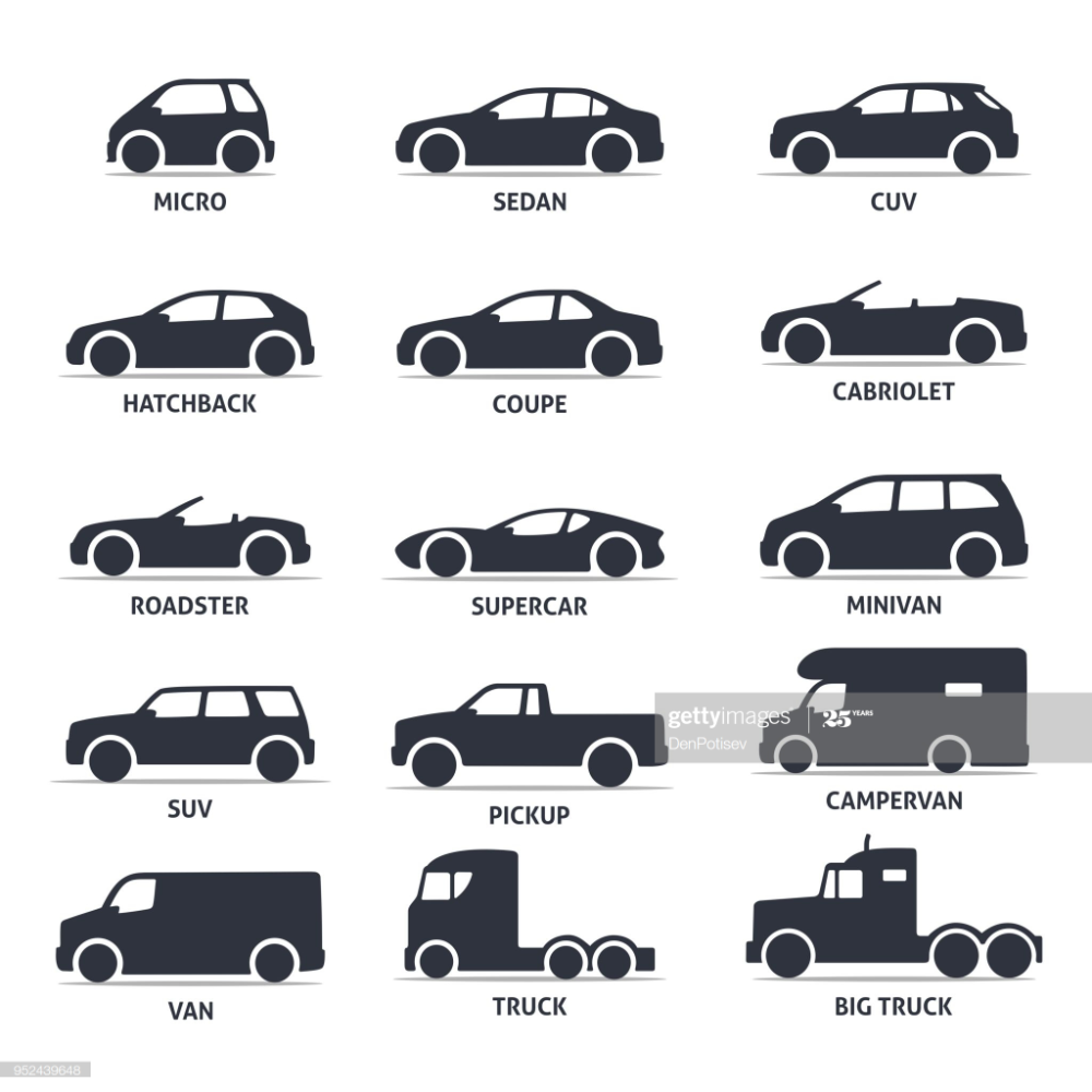Car Type And Model Objects Icons Set Automobile Vector Black Icon Set Car Logo Design Icon